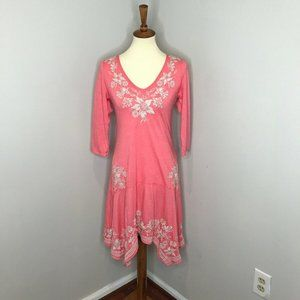 JW Johnny Was Pink White Embroidered Asymmetrical